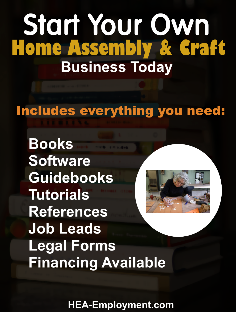 Start your own assembly and craft legitimate home based business. Fully equipped home business package with everything you need to get started. Productivity software, tutorials, guidebooks, references, manuals, tax advice and legal forms are included with each kit. Be your own boss!