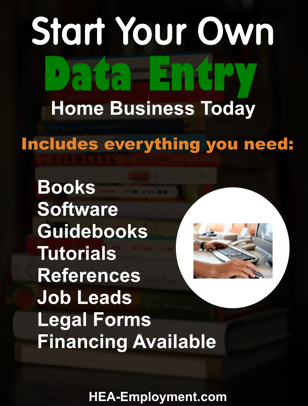 Start your own data entry legitimate home based business. Fully equipped home business package with everything you need to get started. Productivity software, tutorials, guidebooks, references, manuals, tax advice and legal forms are included with each kit. Be your own boss!